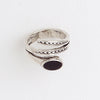 Three Branches Black Enamel Oval Center Clear Gemstones 14Kt Aged White Gold Filled Ring