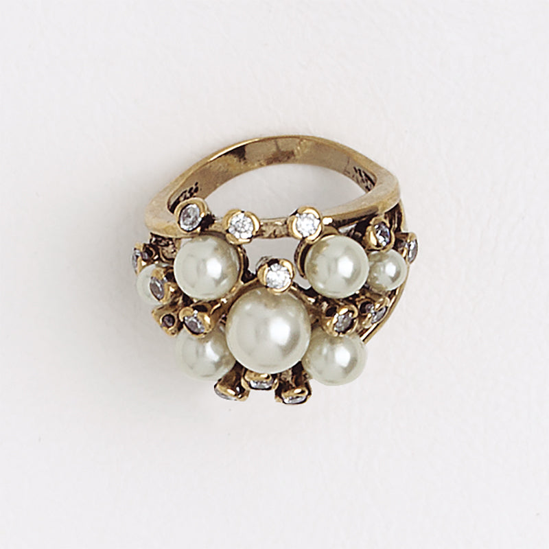 Multistone and Perals Ring, Aged Yellow Gold Filled Ring, Cubic Zirconia and Pearl