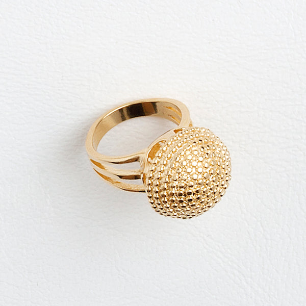 Half Textured Sphere Ring, Fireworks Yellow Gold Filled Ring, Concktail Ring