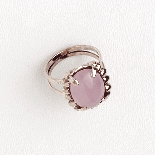 Ring in Aged White Gold Filled with Rose Quartz