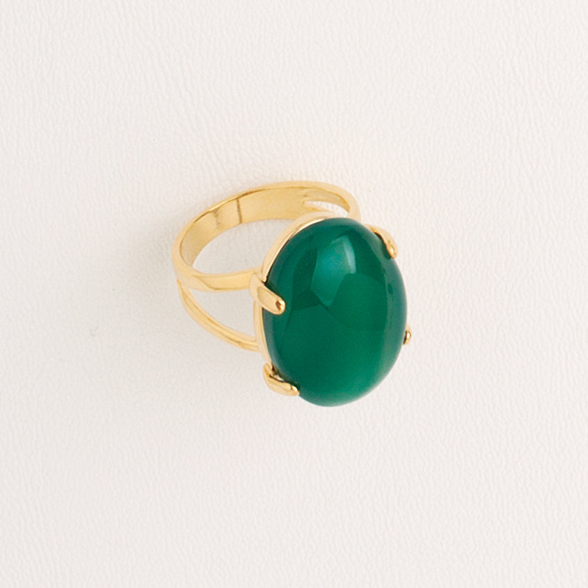 Green Agate Gemstone Ring in Yellow Gold Filled