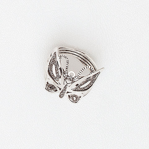 Butterfly Ring, Aged White Gold Plated Ring