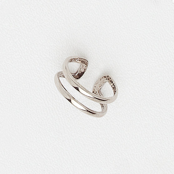 Midi Ring in Aged White Gold Filled