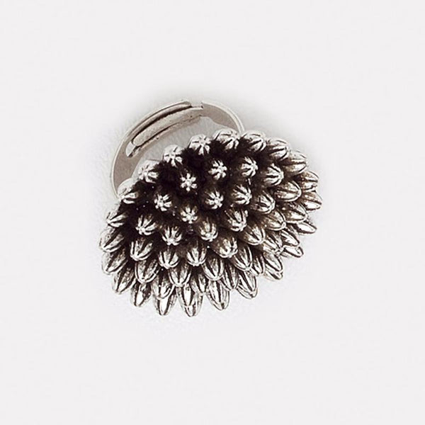 Sea Urchin Ring in Aged White Gold Filled Sizable