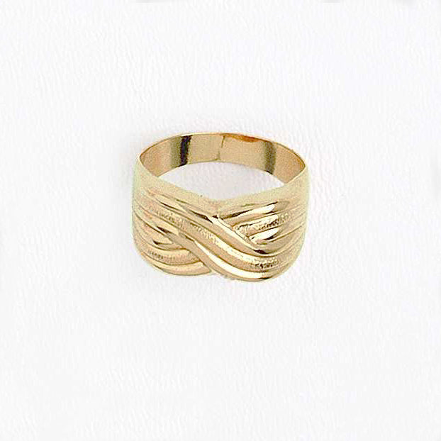 Band Ring, Infinity Wave Ring, Yellow Gold Plated Ring, Simple Ring