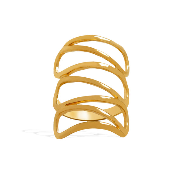 Yellow Gold Filled Ring for Women, Swirl Zig Zag Band for Girls