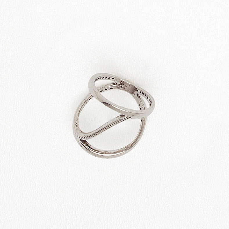 Wave Ring, Aged White Gold Plated Ring, Open Top Ring, Everyday Ring