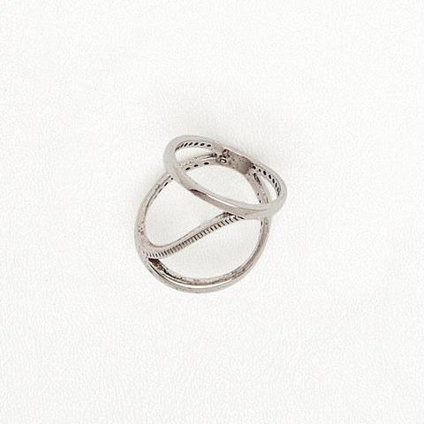 Wave Ring, Aged White Gold Filled Ring, Open Top Ring, Everyday Ring