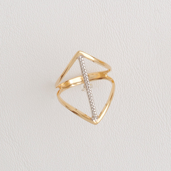14k Yellow Gold Filled Ring for Women with Silver Enamel, Casual Geometric Band