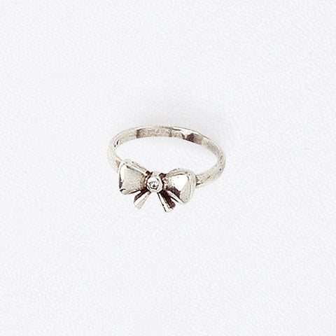 Bow Midi Ring in Aged White Gold Filled with Central Cubic Zirconia Gemstone