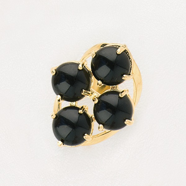 Ring in Yellow Gold Filled with Black Onyx Gemstone