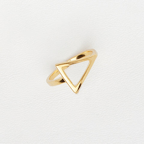 Midi Triangle Ring, Midi Ring, Triangle Ring, Geometric Ring, Minimalist Ring, Yellow Gold Plated Ring