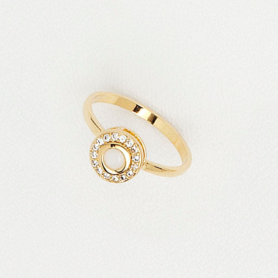 Yellow Gold Plated Ring, Circle Top Ring, Cubic Zirconia Ring, Gemstones Ring, White Enamel Ring