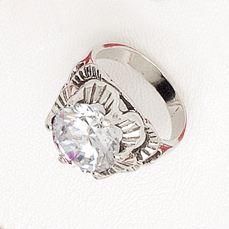 Ring White Gold Filled Flower Top with Cubic Gemstone