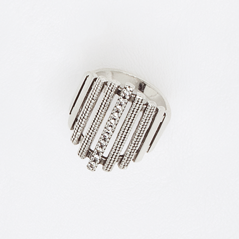 Vertical Lines Ring, Vertical Bars Ring, Rhombus Top Ring, Aged White Gold Plated Ring, Gemstones Ring, Cubic Zirconia Gemstones