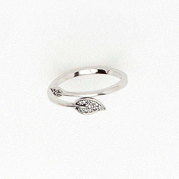 Midi Ring in White Gold with Cubic Zirconia, Leafs Band for Girls