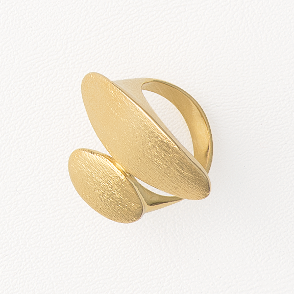 Ovals Top Ring, Yellow Gold Plated Ring, Textured Ring