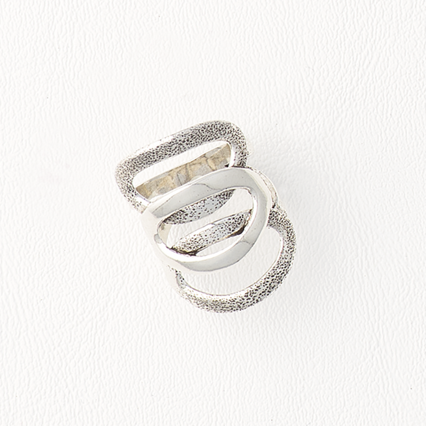 Ovals Ring in Aged White Gold Filled