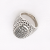Bombe Top Ring in White Gold Filled with Gemstones