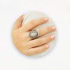 Ring in Aged White Gold Filled with Cubic Gemstones