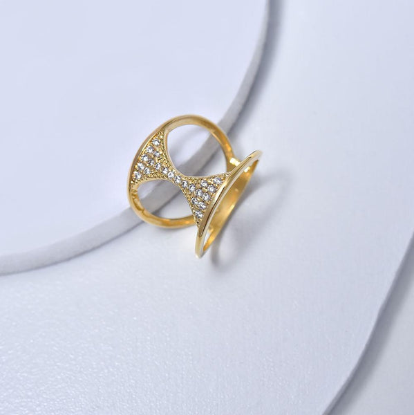 Hourglass Ring in Yellow Gold Plated with Cubic Zirconia Gemtones