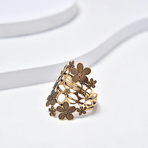Open Flowers Ring, Antique Gold Plated Ring, Vintage Style