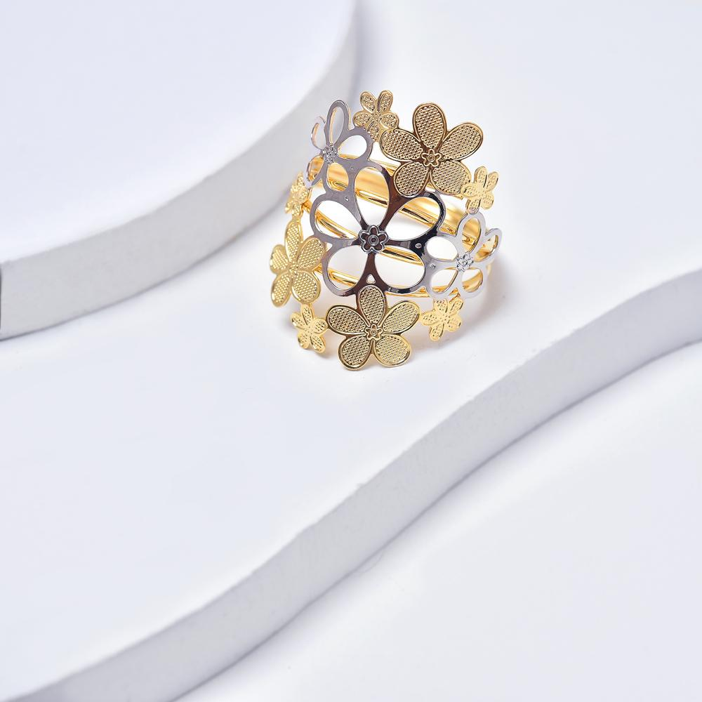 Yellow and White Gold Filled Flowers Ring for Women