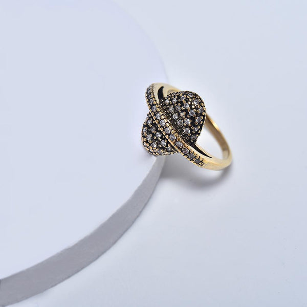 Ring in Aged Yellow Gold Plated with Cubic Zirconia Gemtones