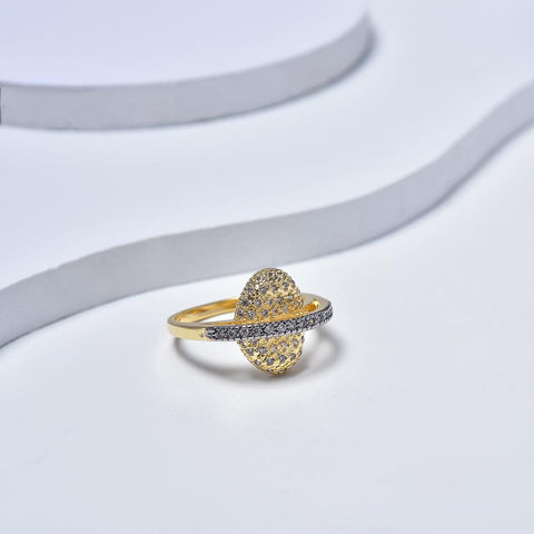 Ring in Yellow Gold Plated with Cubic Zirconia Gemtones & Silver Enamel