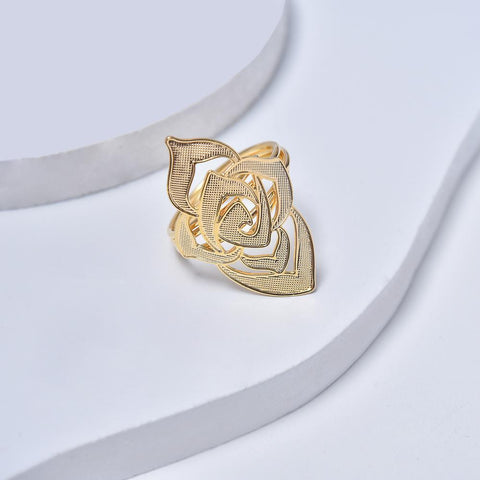 Yellow Gold Filled Rose Ring for Women and Ladies