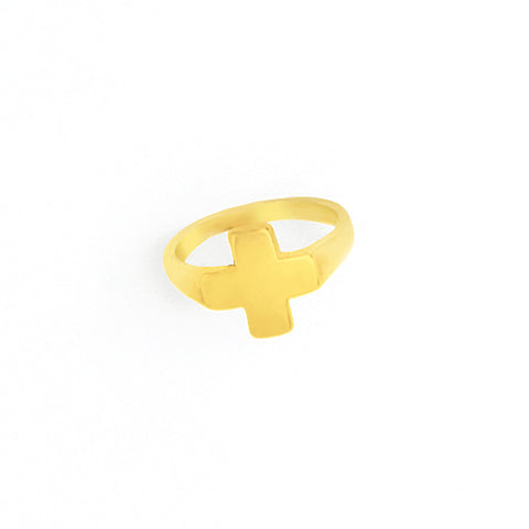 Cross Ring in Sterling Silver o Yellow Gold Filled