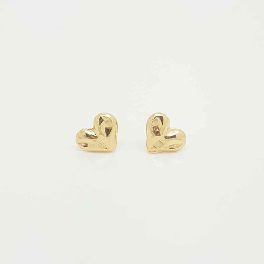 Hearts Earrings in Yellow Gold Filled Metal