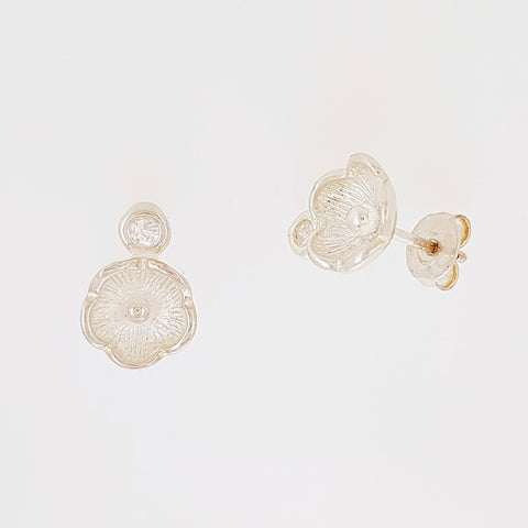 Flower Stud Earrings in Silver with Clear Gemstones