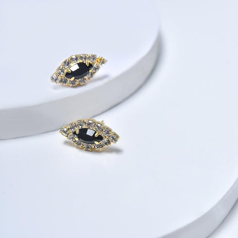 Stud Earrings in Yellow Gold Filled with Black & Clear Cubic Zirconia Gemstones