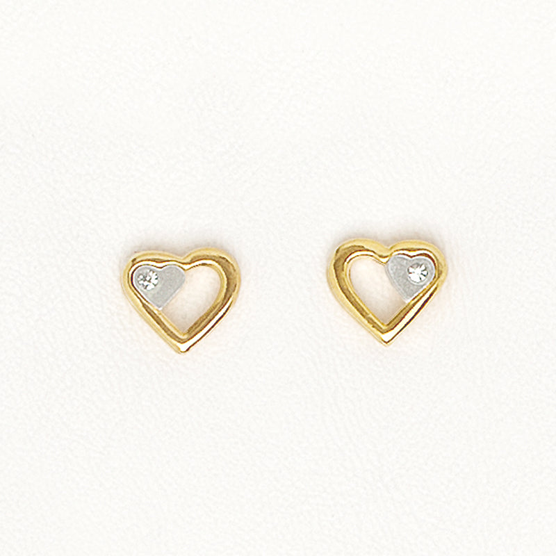 Hearts Earrings in Yellow Gold Filled with Gemstones