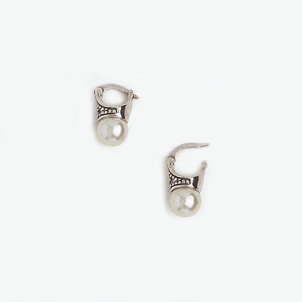 Lady Di Earrings in Aged White Gold Filled, Pearl & Gemstones