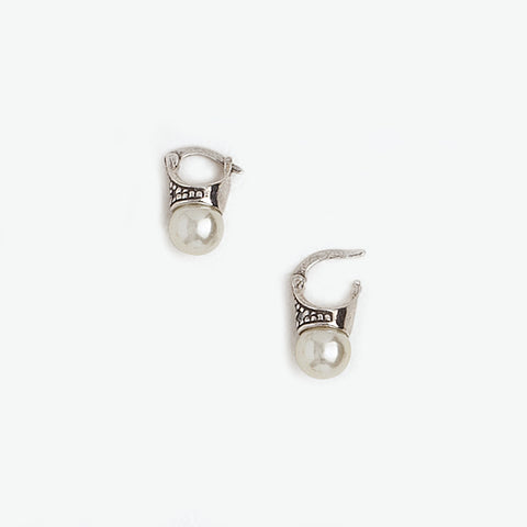 Lady Di Earrings in Aged White Gold Plated, Pearl & Gemstones