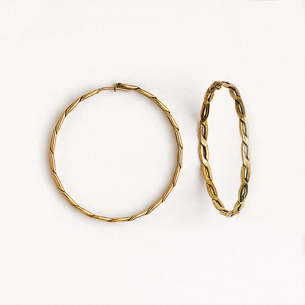 Hoop Earrings in Aged Gold Plated