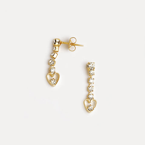 Hearts Earrings in Yellow Gold Filled & Cubic Zirconia