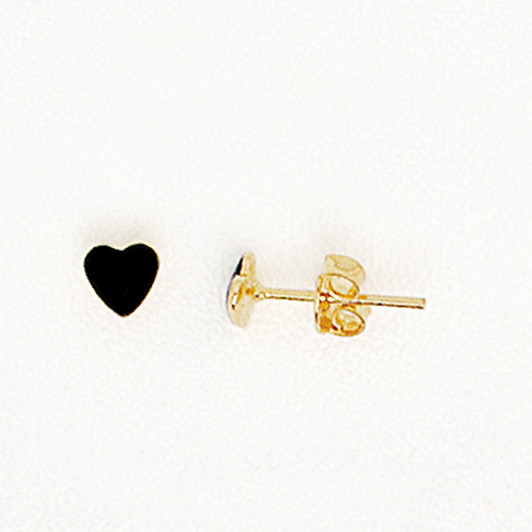 Black Heart Earrings in Yellow Gold Filled