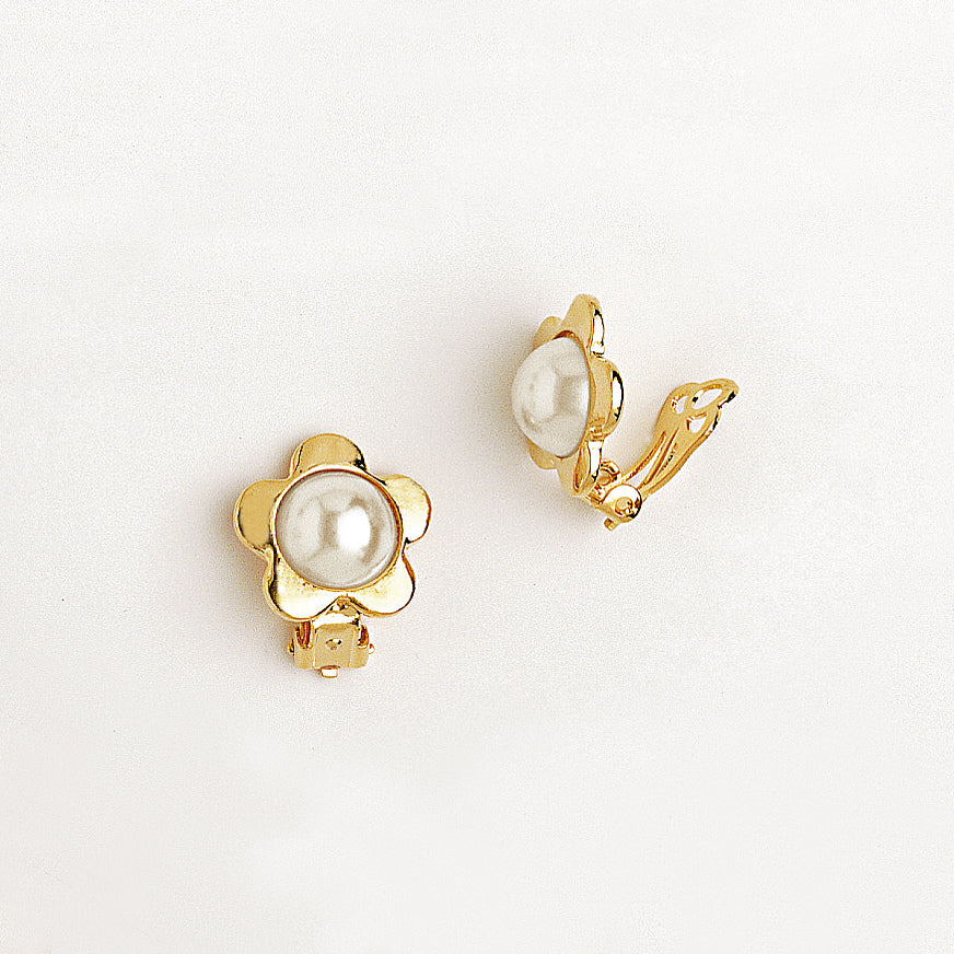 Flower Clip Earrings for Women and Girls in Yellow Gold Filled with Pearl