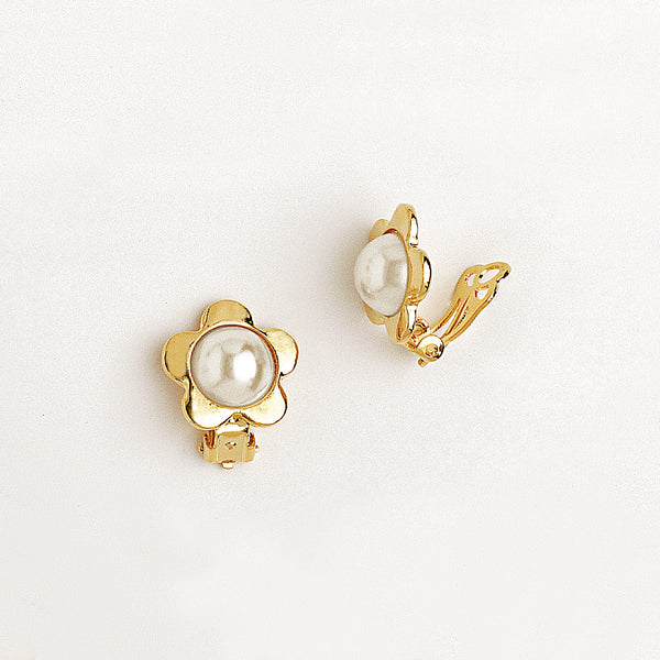 Flower Stud Earrings in Yellow Gold Filled with Pearl