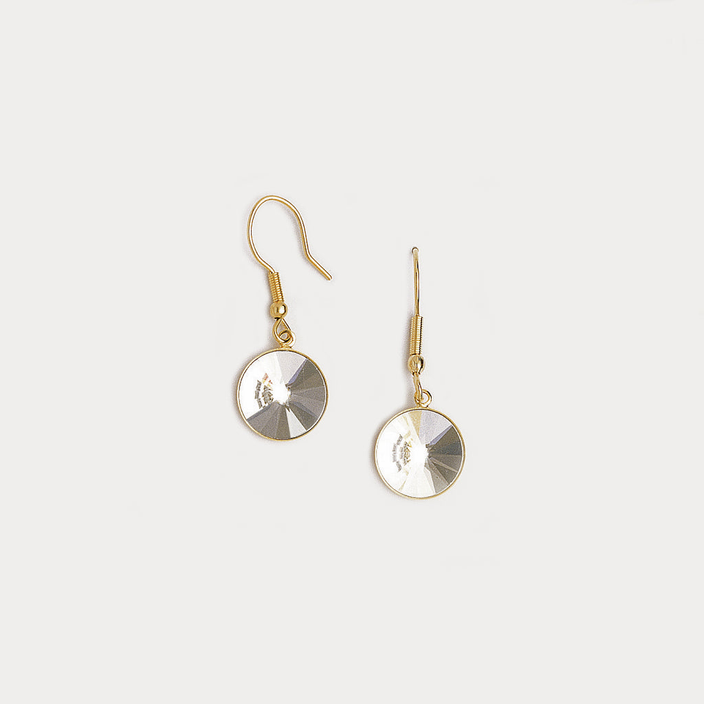 Dangle Earrings in Yellow Gold Plated & Cubic Zirconia