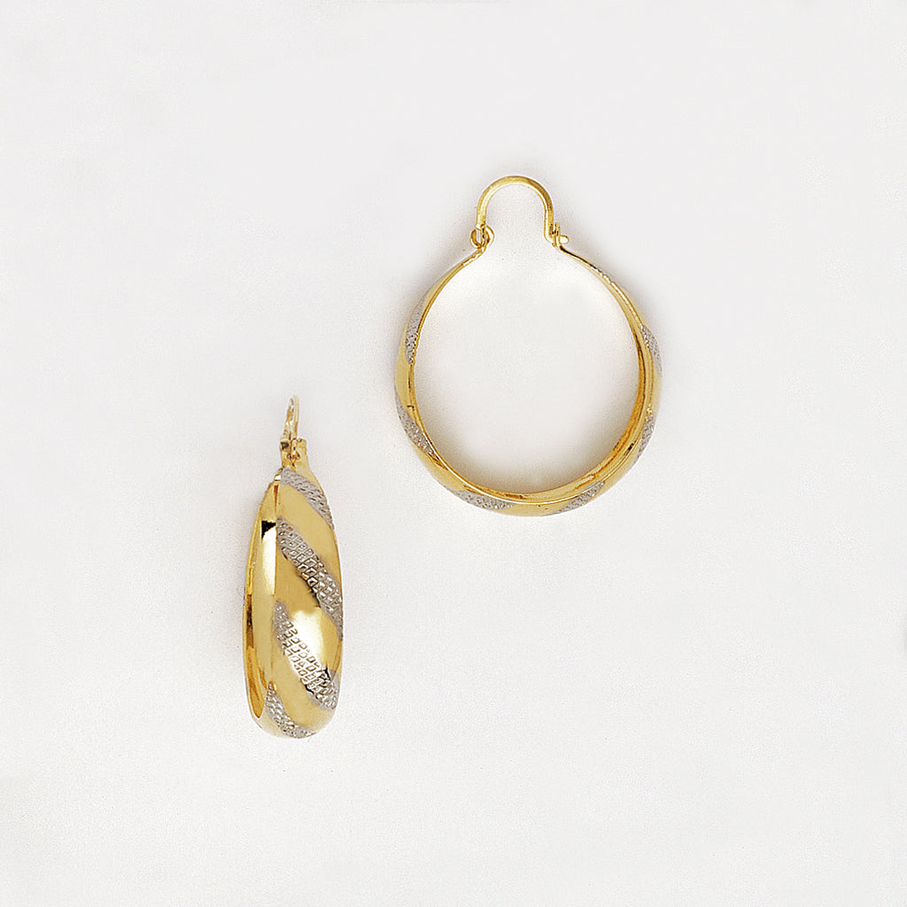 Hoop Earrings in Yellow Gold Filled with Silver Enamel