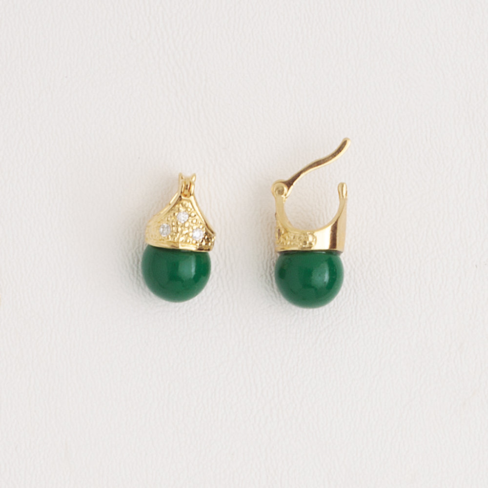Lady Di Style Earrings in Yellow Gold Filled Green Gemstone