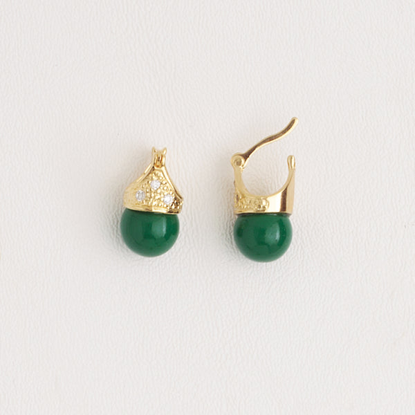 Green Leverback Earrings in Yellow Gold Filled and Agate Stone with Cubic Zirconia