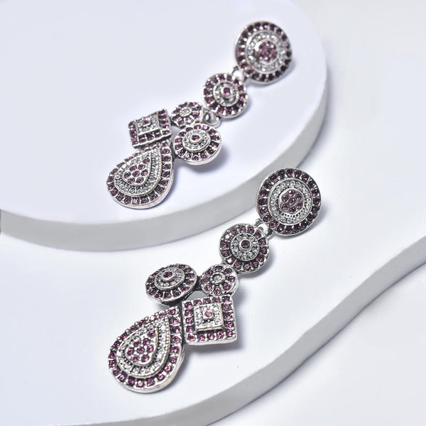 Statement Earrings in Aged White Gold Filled with Violet & Clear Gemstones