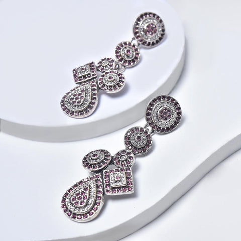 Statement Earrings in Aged White Gold Plated with Violet & Clear Gemstones