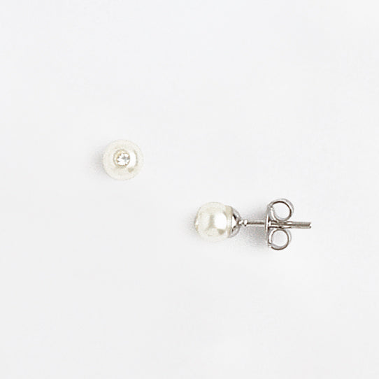 Stud Earrings in White Gold Plated, Pearl & Gemstones