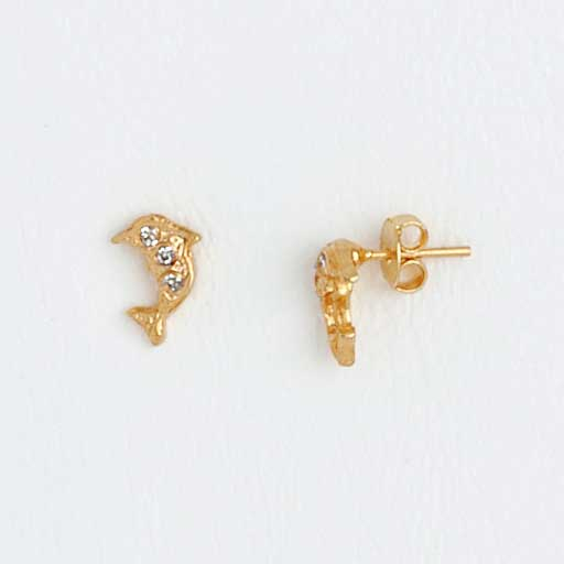 Dolphin Earrings in Shiny Gold Plating with Gemstone